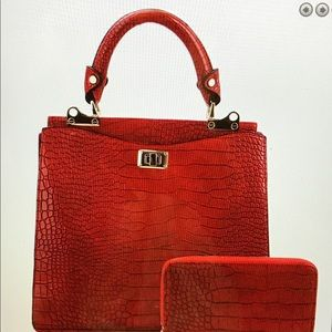Crocodile Print  Satchel Wallet Set Red